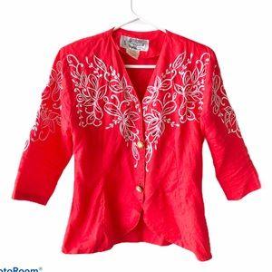 90s vintage Peggy Chen linen embroidered blazer